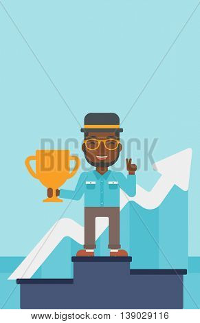 An african-american businessman standing on a pedestal with winner cup. Businessman celebrating his business award. Business award concept. Vector flat design illustration. Vertical layout.