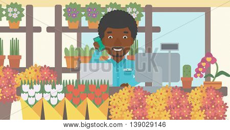 An african-american florist using telephone and laptop to take orders. A florist standing behind the counter at flower shop. Vector flat design illustration. Horizontal layout.