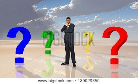 Computer generated 3D illustration with businessman and question marks