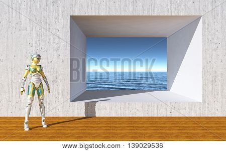 Computer generated 3D illustration with female robot in front of a wall with opening