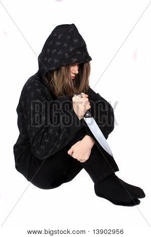 Troubled Emo Teen With Knife