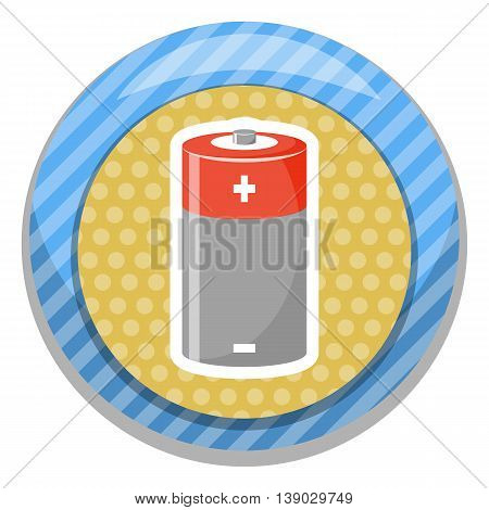 Cylinder battery icon. Vector illustration in cartoon style