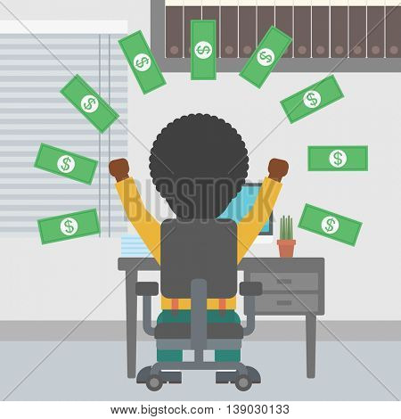 An african-american businessman with raised hands celebrating while sitting under money rain. Successful business concept. Vector flat design illustration. Square layout.