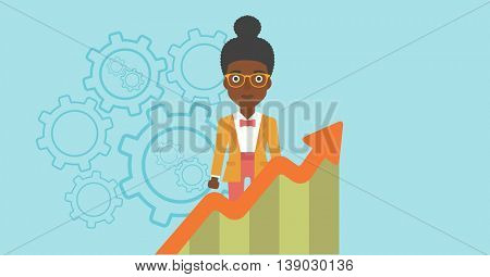 An african-american young business woman standing behind growing chart. Successful business concept. Vector flat design illustration. Horizontal layout.