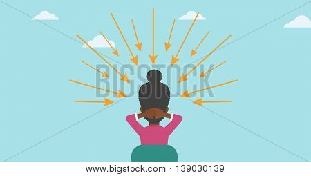 Rear view of an african-american young sitting woman with some arrows poinded to her head. Vector flat design illustration. Horizontal layout.
