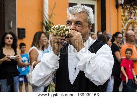 SELARGIUS, ITALY - September 13, 2015: Former marriage Selargino - Sardinia - portrait of a musician in traditional Sardinian costume
