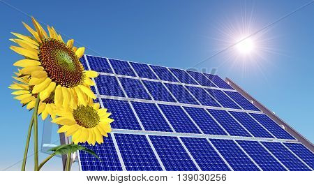 Computer generated 3D illustration with solar panel and sunflowers