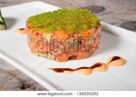 Raw tuna tartar with served with caviar