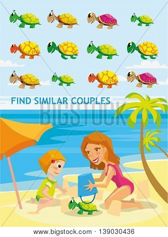 Beautiful cartoon vector illustration. Funny match-up game for preschool kids education. Find six pairs of cute cartoon turtle. Kids game design ready template.