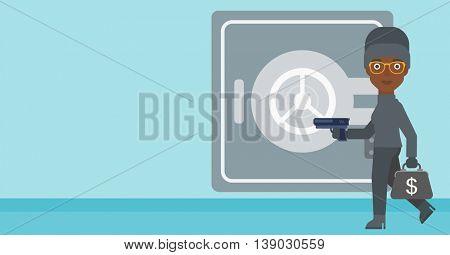 An african-american burglar in mask near the big safe door. Burglar holding hand gun and a bag with dollar sign. Thief stealing money. Vector flat design illustration. Horizontal layout.