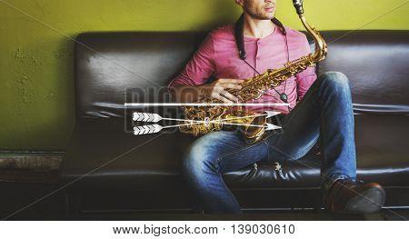 Male Saxophone Musician Label Banner Graphic Concept