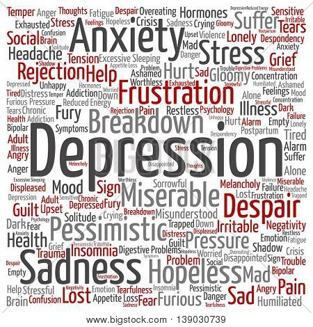 Concept conceptual depression or mental emotional disorder abstract square word cloud isolated on background