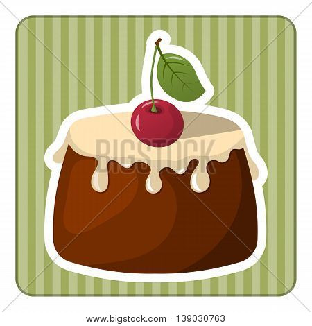 Pudding with fresh cream and a cherry. Vector illustration in cartoon style
