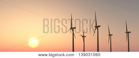 Computer generated 3D illustration with wind turbines at sunset
