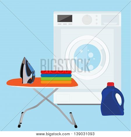 Flat design vector illustration of modern washing machine with pile of clothes and laundry bottle. Clothes stack. Washing clothes. Ironing board and iron