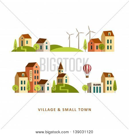 Village. Small town. Rural and urban landscape. Vector flat illustration.