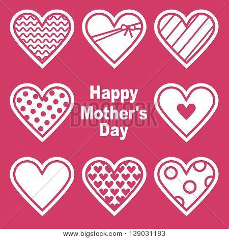 Happy Mothers's Day. Card With Hearts. Vector illustration. Grouped for easy editing.
