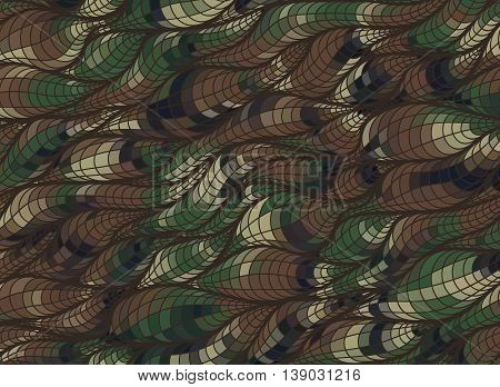 Abstract wave camo background of drawn lines. Coloful leaf pattern.