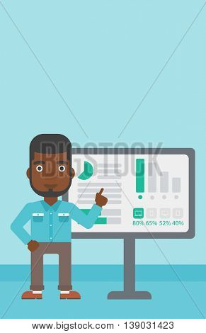An african-american businessman pointing at charts on a board during business presentation. Man giving business presentation. Vector flat design illustration. Vertical layout.