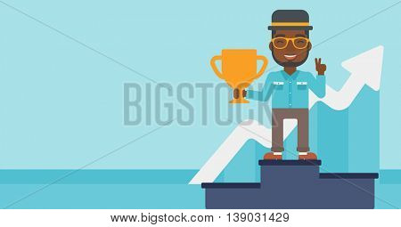 An african-american businessman standing on a pedestal with winner cup. Businessman celebrating his business award. Business award concept. Vector flat design illustration. Horizontal layout.