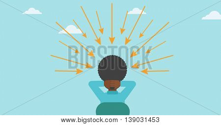 Rear view of an african-american sitting man with some arrows poinded to his head. Vector flat design illustration. Horizontal layout.