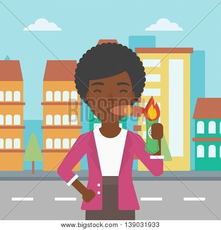 An african-american business woman lighting a cigar with dollar bill. Successful business woman smoking cigar on the background of modern city. Vector flat design illustration. Square layout.