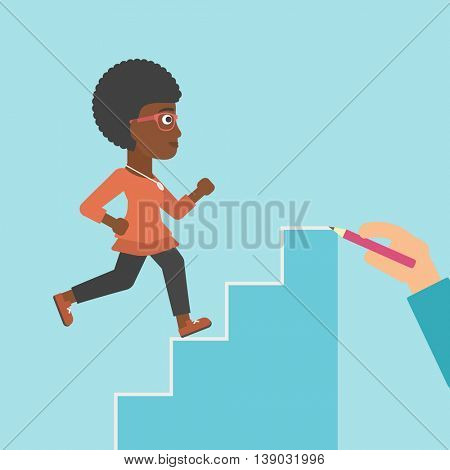 An african-american young business woman running up the stairs drawn by hand with pencile. Concept of business career. Vector flat design illustration. Square layout.
