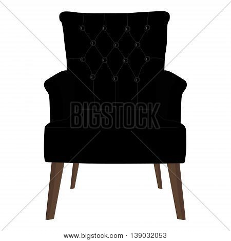Vector illustration modern black armchair. Elegant realistic armchair