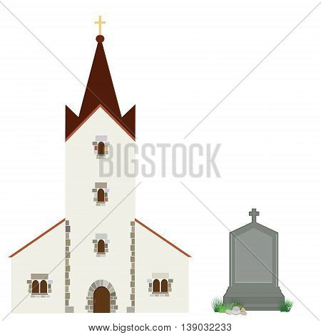 Vector illustration church building and grey gravestone with cross. Church icon. Christianity catholic