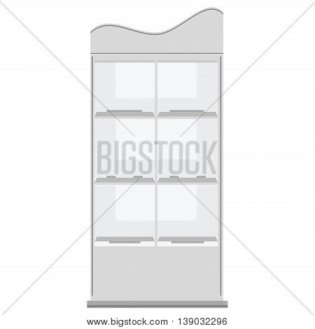 Vector illustration white cardboard floor display rack for supermarket. Blank empty displays with shelves products. Display stand