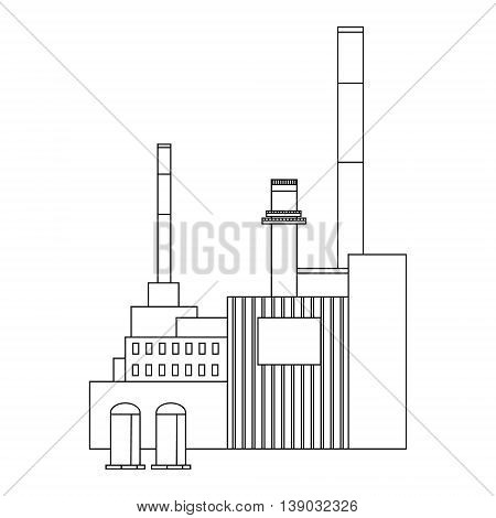 Vector illustration factory power electricity industry manufactory building flat decorative icon. Industrial building factory