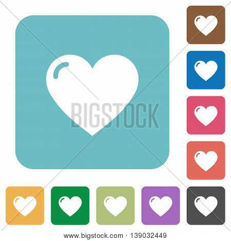 Flat heart shape icons on rounded square color backgrounds.