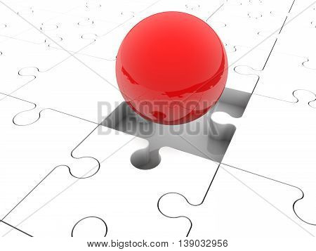Red balls randomly stacked on puzzle pieces . 3D illustration