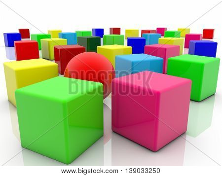 Toy cubes in various colors on white . 3D illustration