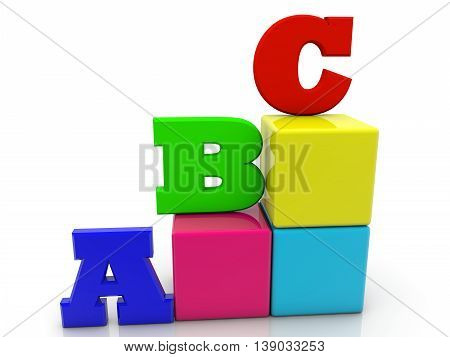 Toy cubes with letters A,B,C on white . 3D illustration