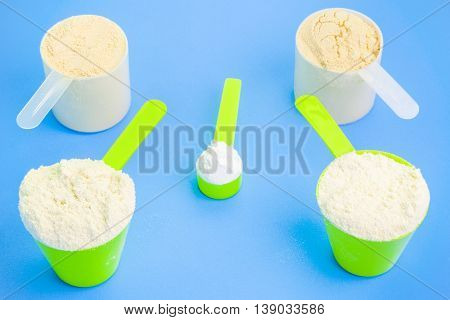 Scoops with pure whey protein ,creatine and pea protein