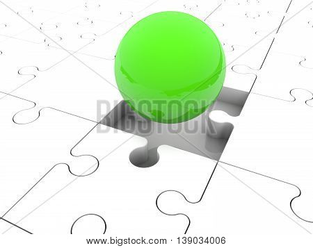 Green ball between puzzle pieces . 3D illustration