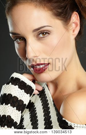 Girl Portrait With Striped Shirt