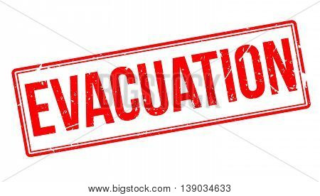 Evacuation rubber stamp isolated on white background