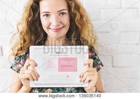 Girl Tablet Start up Business Concept