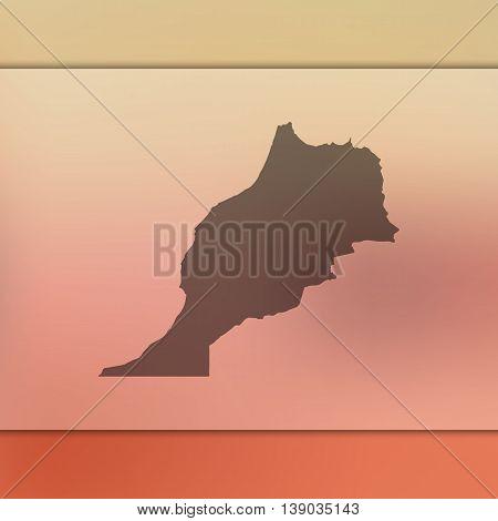 Morocco map on blurred background. Blurred background with silhouette of Morocco. Morocco. Morocco map. Blurred background.