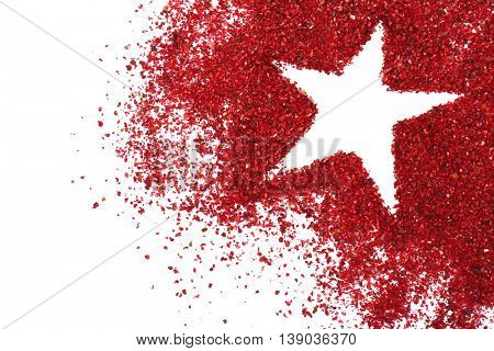 Dried sumac with star silhouette on light background