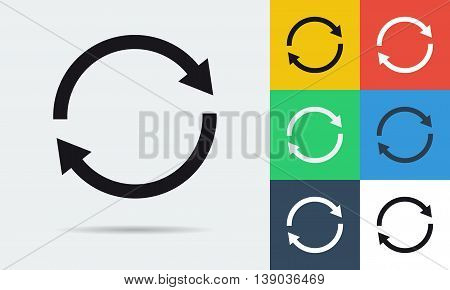 Vector colored and monochrome two rounded arrows icon in flat style