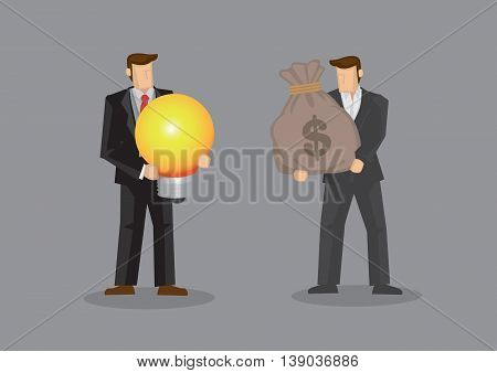 Businessmen using a bag of money to exchange a light bulb metaphor for bright idea. Vector illustration on purchasing business idea concept isolated on grey background.