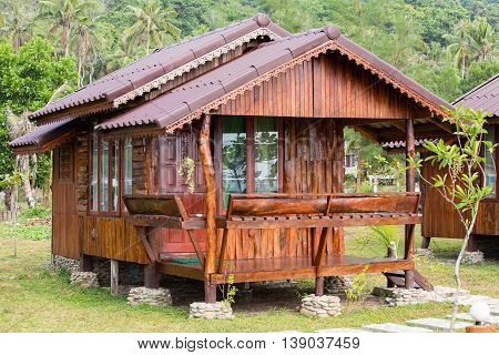 Tropical wooden beach house near sea in Thailand