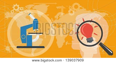 Vector business background. Concept study, investigation and research. Microscope and magnifier with idea lamp on orange world map in flat style