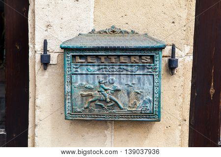 Old letter post box on the wall