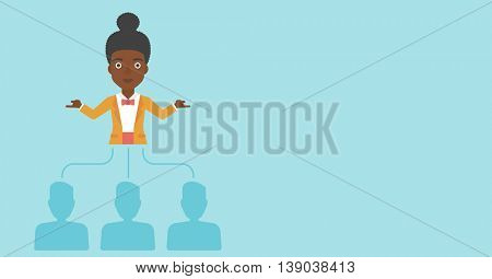 Three employees linked with an african-american business woman. Young business woman choosing employee. Concept of searching for stuff. Vector flat design illustration. Horizontal layout.