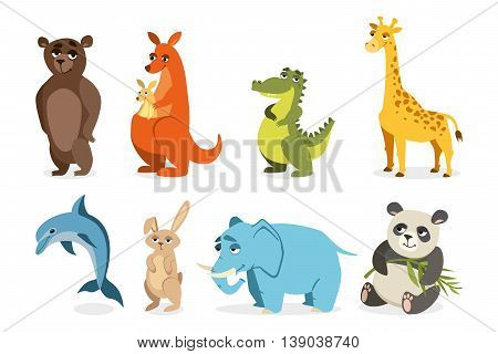 set of cute animals. vector drawings on a white background