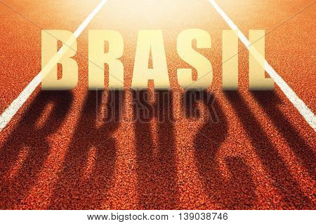 Brasil title on athletic running track conceptual image for sport event taking place in Brazil